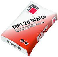 Baumit MPI 25 White. Белая цементно-известняковая штукатурка для внутренних работ, 25кг